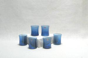 Glas 6 st, snaps, I-104, blå (SÅLD)