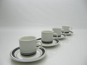 Mokkakoppar, 4 st, Faenza, svartrand, PW