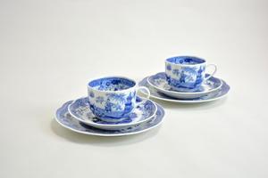 Kahvikupit, aluslautaset +asetit, 2 kpl, Singapore, sininen