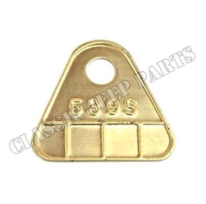 """Brass carburator tag """"539S"""""""