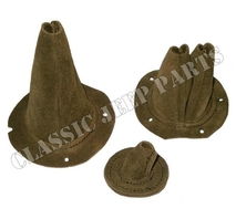 "Leather boot set for accelerator pedal and shifting sticks ""OLIVE DRAB"" suede leather"