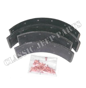 """Brake shoe lining with rivets 2 wheels brake shoes with 1 3/16"""" between rivet holes"""