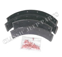 "Brake shoe lining with rivets 2 wheels brake shoes with 1 3/16"" between rivet holes"
