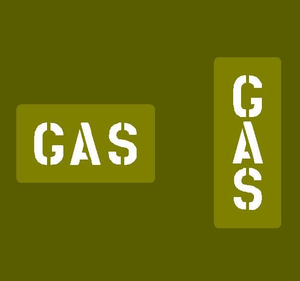 "Jerry can stencil ""GAS"""