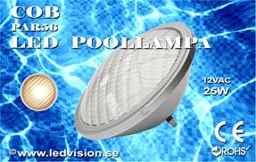 Poolbelysning PAR56 COB 25W Varmvit Rostfritt lamphus
