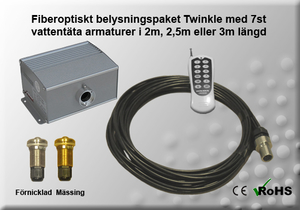 Fiberoptiskt Jacuzzi/Poolpaket Twinkle 5W 2-3m 7st Armaturer
