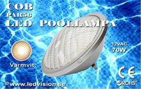 Poolbelysning PAR56 COB 70W Varmvit Rostfritt lamphus Obs. Mycket Ljusstark
