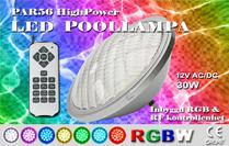 Poollampa PAR56 HighPower RGBW med Inbyggd kontrollenhet Rostfritt lamphus