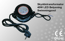 Skyddstransformator 230VAC/12VAC 40W Poolbelysning
