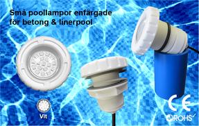 Små Poollampor SMD5050 3W Vit för Betong & Linerpool