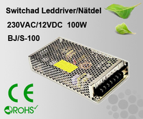 Switchad Leddriver/Nätdel 230VAC/12VDC 100W