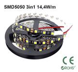 Ledtejp SMD5050 3in1 14,4W/m Vit ljusfärg Svart PCB
