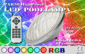 Poollampa PAR56 HighPower RGB med Inbyggd kontrollenhet Rostfritt lamphus