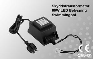 Skyddstransformator 230VAC/12VAC 60W Poolbelysning