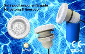 Små Poollampor SMD5050 3W Varmvit för Betong & Linerpool