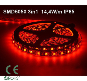 Ledtejp SMD5050 3in1 14,4W/m Röd Ljusfärg Svart PCB
