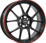"16"" INTER ACTION PHOENIX - Gloss Black / Red 7x16 - ET37"