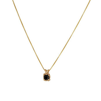 Square Spinel Necklace Bronze