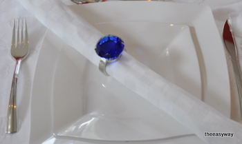 Napkin Rings. Shappire Blue. 4 pieces.
