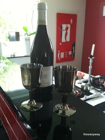 Wine Goblet in silver. 6 pieces.