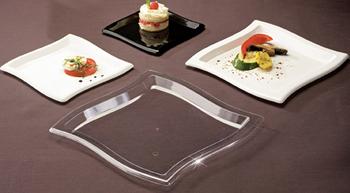 Square Waves. Dinner plate. Black. 10 pcs.