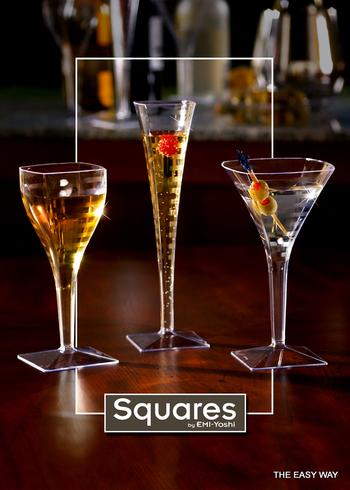 Square Wine glass. 6 pieces.