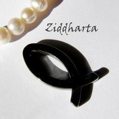 1st Hematit-hänge: Symbol - FISK ca27x13mm