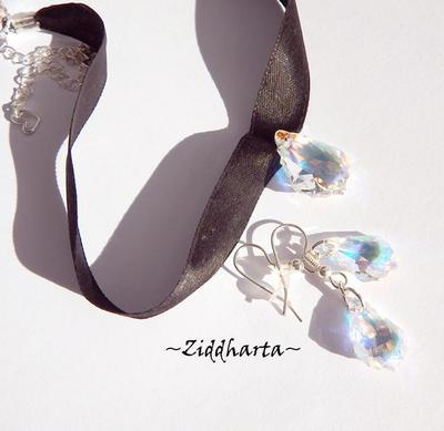 "SÅLD! L5:140 SET Choker SteamPunk - VICTORIAN Swarovski Barouque Crystal AB Kristaller - x2 Halsband & Örängen:  ""FRANCE"" - Necklaces & Earrings Made by Ziddharta of Sweden"