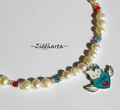 L1:13 Necklace Hello Kitty Angel LOVE Wings Enamel Pendant Freshwaterpearls & Swarovski Crystals Handmade Jewelry and Beadings by Ziddharta