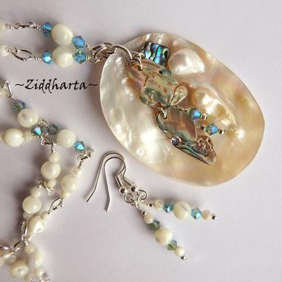 L1:28 PAUA Necklace OOAK Designer Artwork Nacre PAUA Necklace Statement Necklace Mop Shell Pendant Paua Necklace - Handmade Jewelry by Ziddharta