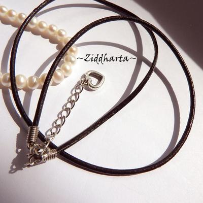 1-3-5st AS Heart CHARMS: Svart Smyckesrem LÄDER - inklusive lås, förlängningskedja & hjärta