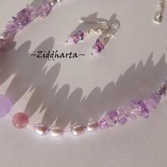L5:155 SET - Jade Violet Opal - Halsband & Örhängen - Lila Violetta Blister Sötvattenspärlor Candy Jade Swarovski Crystals - Necklace & Earrings - handmade by Ziddharta