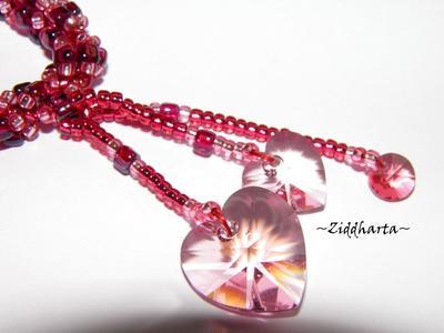 SÅLD! L3:108 Pink Beaded Rope Swarovski Crystals: Hearts