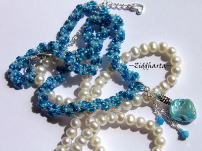 L1:17 OOAK Unikt: SkyBlue & Turquoise Mother of Pearl - Beaded Rope Swarovski Crystals: Hearts