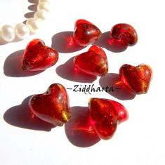 1st Hjärta ca 12mm - SF COGNAC SilverFoil LW - Handmade HEART Lampwork Beads