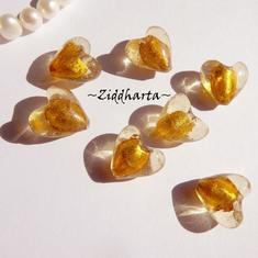 1st Hjärta ca 12mm - SF GULD SilverFoil LW - Handmade HEART Lampwork Beads