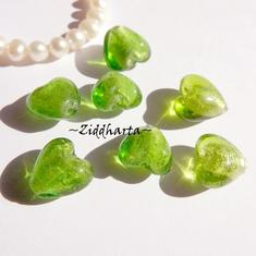 1st Hjärta ca 12mm - SF PERIDOT Äpple grönt Apple Green SilverFoil LW - Handmade HEART Lampwork Beads
