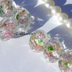 Exklusiv Handgjord LampWork glaspärla: Facetterad Rondell Rosor & guldsand - Crystal #05