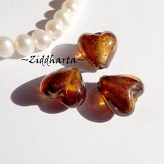 1st Hjärta ca 12mm - SF Dk. Topaz Bruna Silverfoil LW - Handmade HEART Lampwork Beads