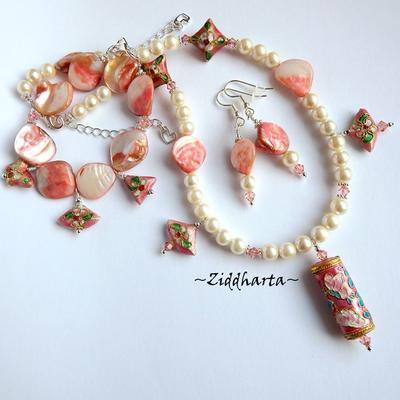 L2:69 SET Necklace Bracelet Earrings OOAK Cloisonné SCROLL Pendant MOP - Pearls Swarovski Crystals - Handmade Jewelry and Beadings by Ziddharta