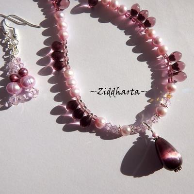 L2:57nn Amethyst CatEye Drop SET Pendant Pink Freshwaterpearls Rosaline AB Swarovski Crystals - SET Necklace Bracelet & Earrings