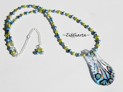 L2:48 Himmelsblå Lime Set: Halsband, armband & örhängen - LampWork Hänge SkyBlue & Lime med matchande sötvattenspärlor handgjorda smycken tillverkade i Sverige!