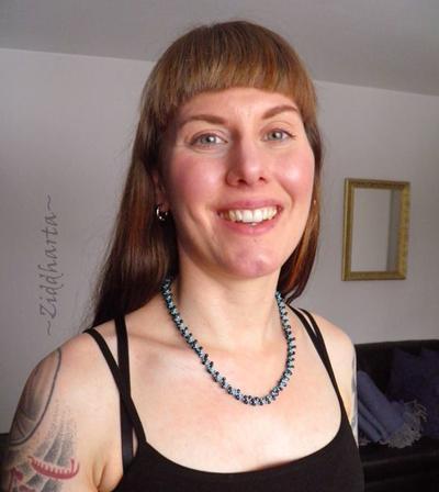 "L1:32 Turquoise Dk Indigo Necklace ""Indigo Swirl"" Necklace DNA-spiral Necklace Miyuki Seed Beads Necklaces - Handmade Jewelry by Ziddharta"