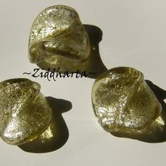1 Handgjord LampWork pärla: Swirl - SF OLIVINE - 8476