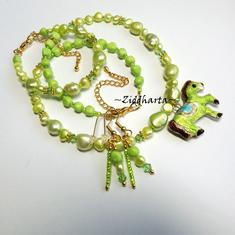 L1:40nn SET - Apple Green Cloisonné Horse Pendant - Necklace Bracelet Earrings - Swarovski Crystals - Handmade Jewelry and Beadings by Ziddharta