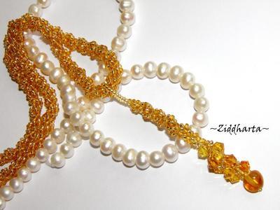 L1:11 OOAK Unikt: Golden Swarovski & Amber - Beaded Rope Swarovski Crystals: Hearts