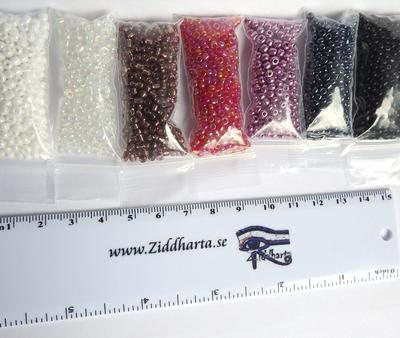 #03 REA: Seedbeads-MIX 7st olika färger: Paket #03 Drama: Red Lilac