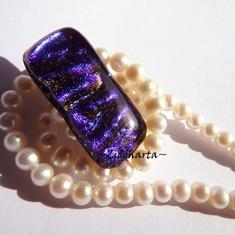 30 Dichroic Cabochon ca34x12mm: Lilac CarribeanBlue Magic
