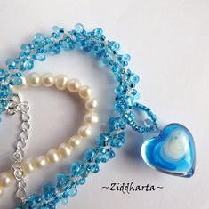 "L1:33 Two necklaces in One: Aqua Blue ""Sky Swirl Heart"" Necklace Miyuki & Jablonex beaded Swirl Necklace Sewn Seed Beads - Handmade Jewelry by Ziddharta"
