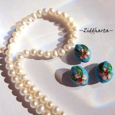 1 Cloisonné pärla: Platta Ovala Turquoise Turkos #55